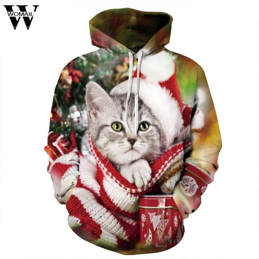Womail Men Women Christmas 3D Print Hoodies Sweatshirt 2017 Xmas Pet hooded Sweatshirt Pullover Christmas Hoodie Tops NV02
