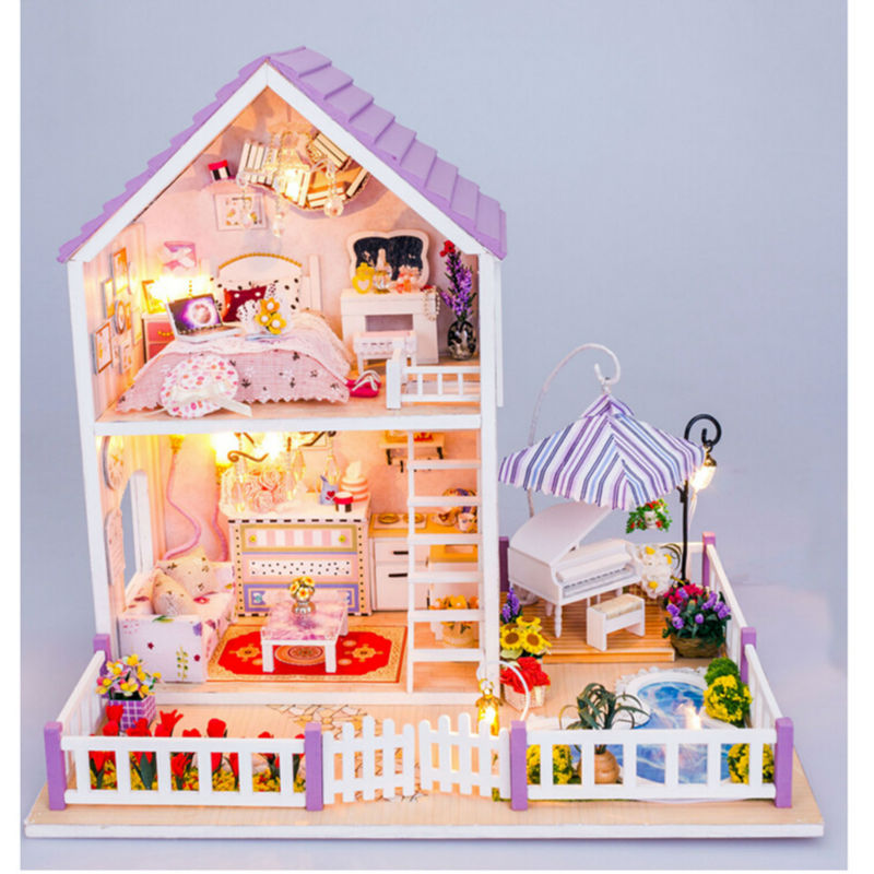 Newest DIY Wood Doll House with Furniture,Romantic Purple House Miniature Dollhouse Assembling Toys for Kid's Birthday Present free shipping 1pcs ethernet 220v power supply 12v 24v surge protector 2 in 1 cctv lighting protection device