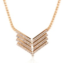 Lureme Fashion Luxury V-shaped with Crystal KC Gold Color Alloy Short Necklace for womens Party Jewelry