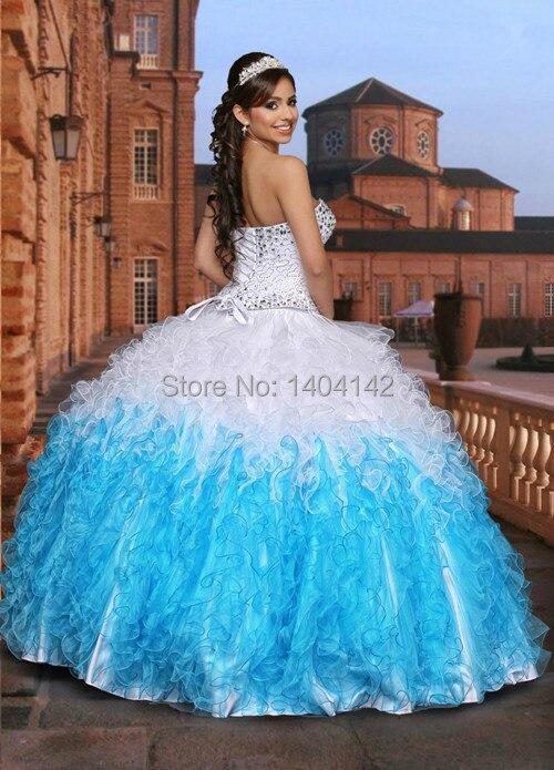51efd9a3e7 Barato blanco y azul Quinceanera Vestidos Vestidos De bola con las chaquetas  sin mangas del amor que rebordea el vestido para 15 años Vestidos De 15 en  ...