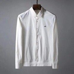 2019 мужская деловая рубашка с длинным рукавом, брендовые дышащие рубашки с Пчелой, дизайнерские мужские повседневные рубашки высокого качес...
