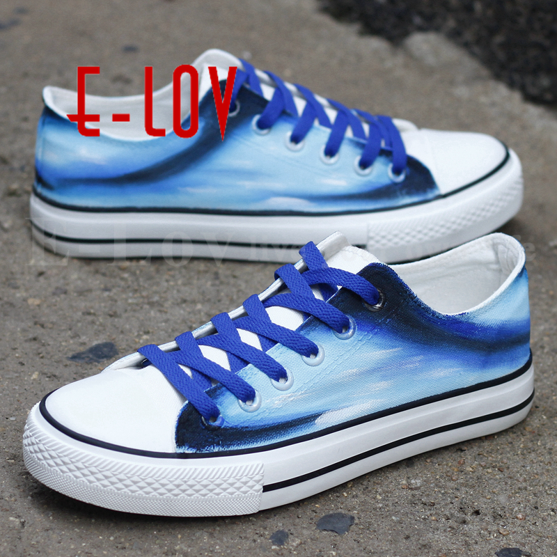E-LOV Top Fashion Graffiti Flat Shoes Women Girls Hand Painted Dream Blue Casual Low Top Canvas Espadrilles zapatos mujer bowknot embellished plus size drop shoulder sweater