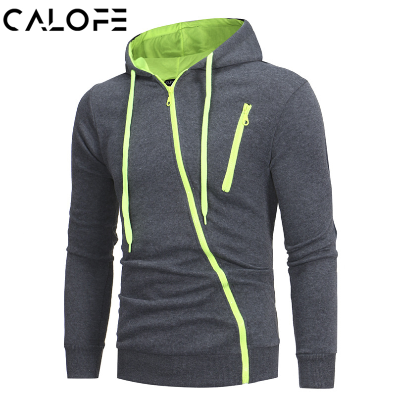 CALOFE Hooded Running Jackets Patchwork Hood Oblique Zipper Cardigan Long Sleeve Outdoor Sportswear 2018 Autumn Hoodie Shirt