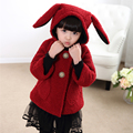 2016 New Autumn Winter Fashion Red Full Fleece Rabbit Ears Girls Hooded Coat Brand Baby Girls Clothes Infant Outwear