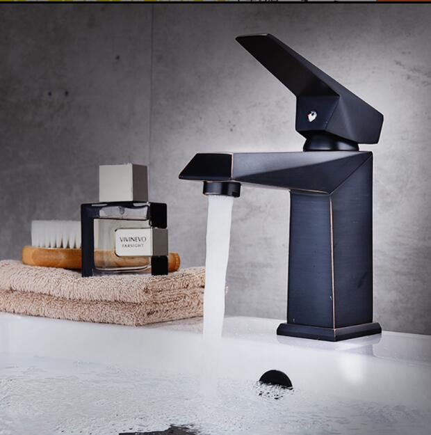 New Arrivals unique design brass square Basin Faucet hot and cold single lever black oil Brushed bathroom sink faucet basin tap new arrival total brass high quality unique design black finished hot and cold basin faucet sink faucet bathroom basin tap