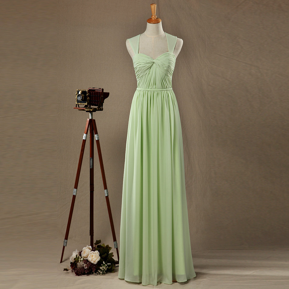 15453f2a2f0 Apple Green 2016 Real Sample Chiffon Ruffles Cap Sleeves Open Back  Sweetheart Long Bridesmaid Dresses Custom Made -in Bridesmaid Dresses from  Weddings ...