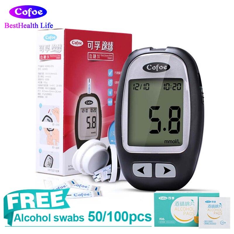 Cofoe Yizhen глюкометров диабет Тесты монитор с 50/100 шт. Тесты полоски + иглы сахара в крови Тесты устройство здравоохранения
