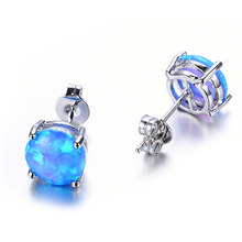 925 Sterling Silver Empat Cakar Opal Batu Ear Studs Earrings Fashion Jewelry Baru 4 Warna(China)