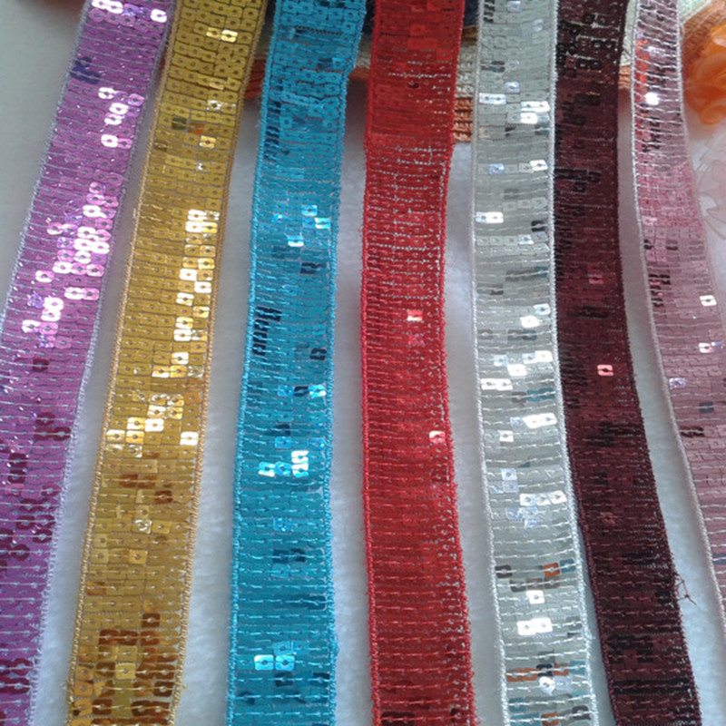 SASKIA 15Yard Squar Sequin Embroidery Lace Ribbon Braid 2 4CM Wide Sew Dance Dress Curtain Accessory African Lace Gold Silver in Lace from Home Garden