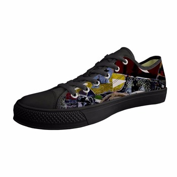 2019 Women New Sneakers Classic Low Style For Female Black Canvas Vulcanize Shoes Flats Lace Up Painting Print Georges Braque