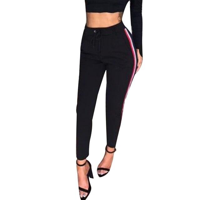 MIOIM Mode Côté Rayé Harem Pantalon Femmes Coulisse Taille Haute pantalon  joggers Dames Occasionnels Pantalon Long 0aa6f3e3ac7