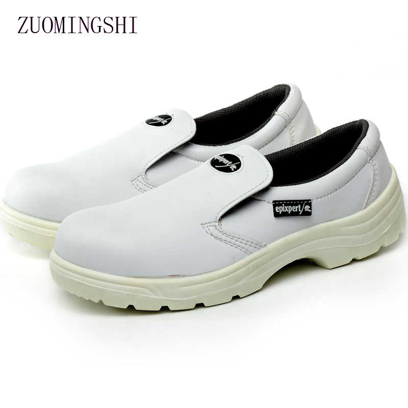 8287afaa403a white leather Anti-static shoes men safety work shoes men steel toe sneaker  rubber sole