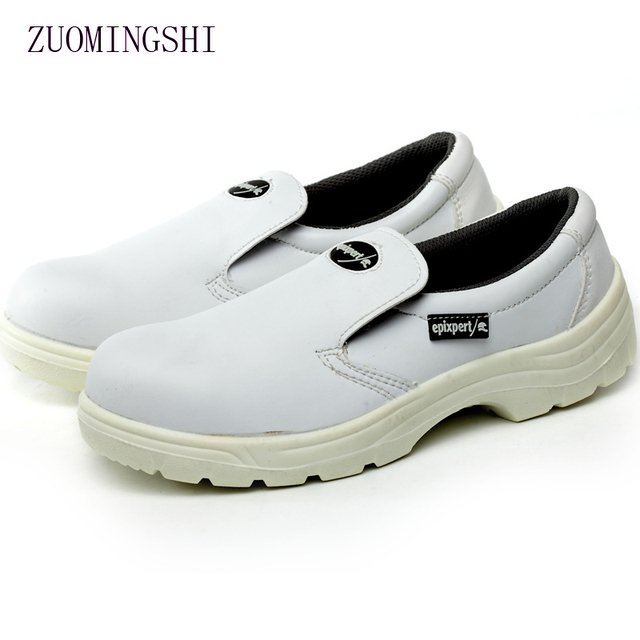 white leather Anti-static shoes men work shoes men steel toe sneaker rubber sole safety boots men casual boot shoes