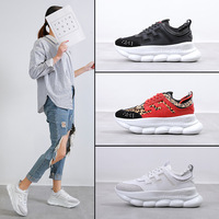 2019 Women Casual Shoes White Platform Sneakers Lace Up Sewing Med Wedges Shoes for Women Zapatillas Mujer Flock Black Sneakers