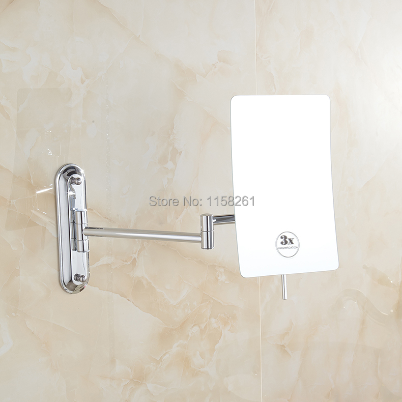 Bath Mirrors Square Beauty Bathroom 3x Magnifying Brass Cosmetic Makeup Mirror Chrome Finish
