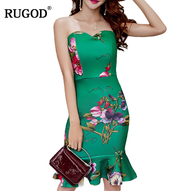 RUGOD New Year Spring Chinese Style Strapless Female Dress Sexy Elegant Party Women Dress Bodycon Slim Flower Knitted Vestidos luxury brand 2018 spring new style women dress full sleeve slim clover pattern black dress comfort knitted party vestidos