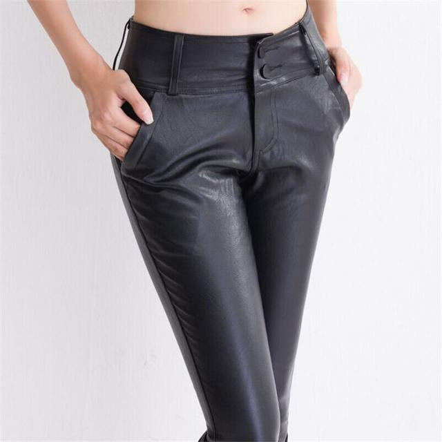 New Pants Autumn Women Colothes Pu Leather Faux Lady Pockets Slim Thin Female Leggins High Elasticity Sexy Pencil Trousers K063