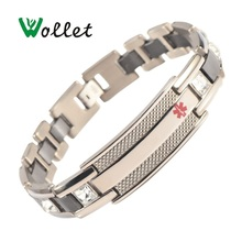 Wollet Jewelry Health Energy Magnetic Ceramic Bracelet 316L Stainless Steel Rose Gold Plated Magnet Germanium Bracelets For Men недорого