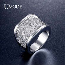 UMODE 2016 Latest Design Paved Luxury Zircon Rings For Women Fashion Jewelry Rhodium plated Cocktail Finger Ring Lady AUR0324