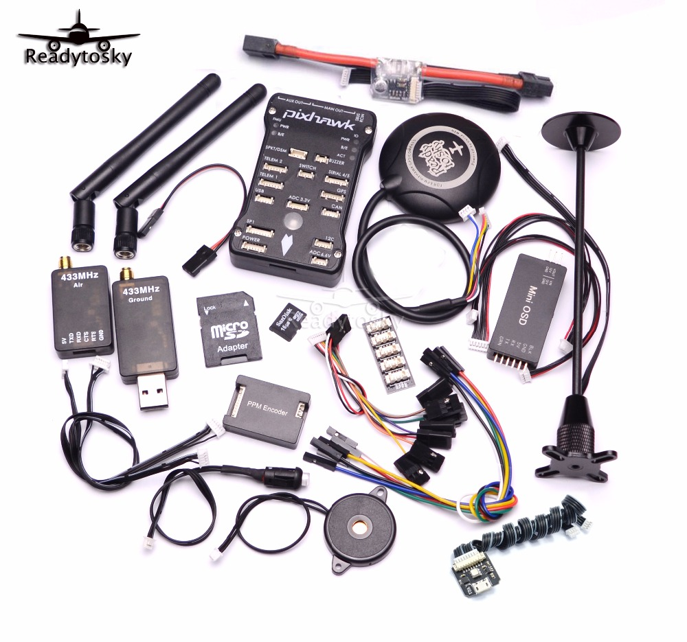 Pixhawk PX4 PIX 2.4.8 32 Bit Flight Controller+433/915 Telemetry+M8N GPS+Minim OSD+PM+Safety Switch+Buzzer+PPM+I2C