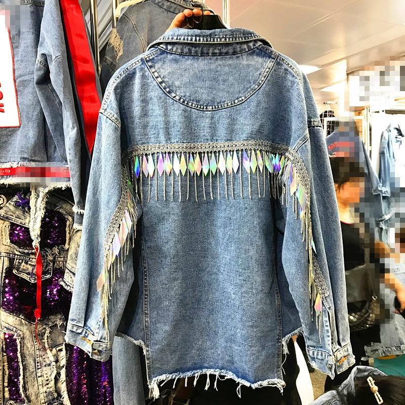 New Long Sleeve Lapel Fringed Jean   Jacket   for Women with Loose Short   Jacket   Ladies Studded   Basic     Jackets   Street Wear