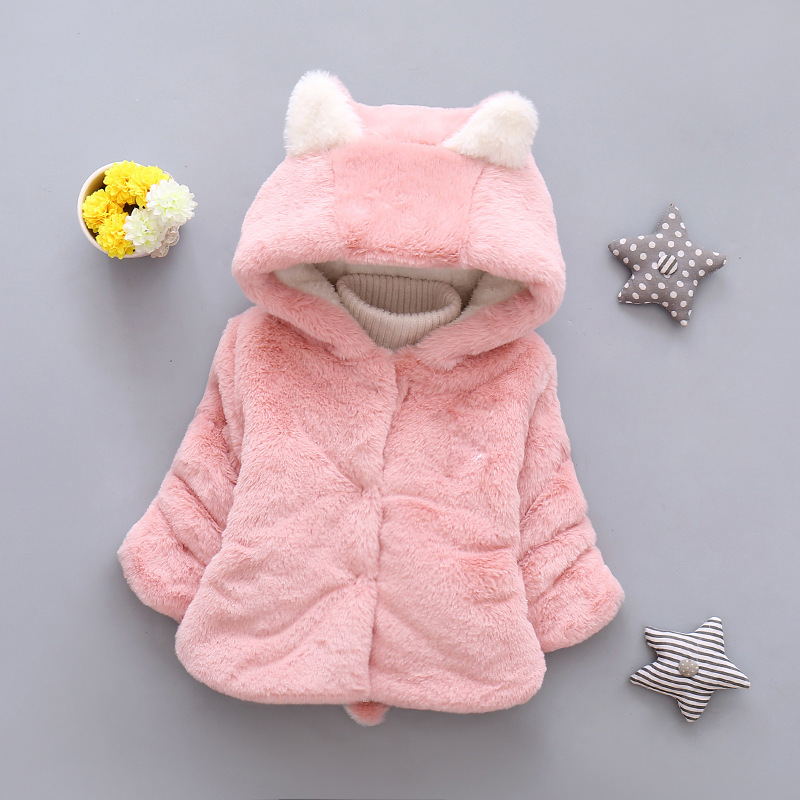 2017 Winter New Baby Girl Cotton Fox Plus Cashmere Jackets Children Clothes Suits Sweater Coat Cloak Infant Warm Clothing 0-2Y