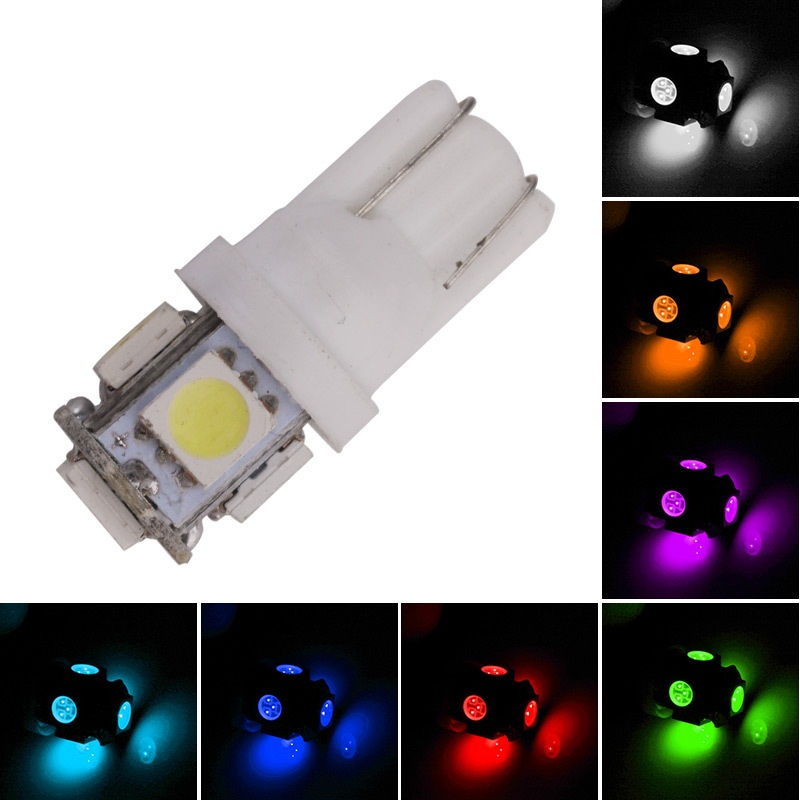 1pcs Super Bright DC 12V T10 LED W5W 5050 5SMD 192 168 194 White Lights LED Car Light Wedge Lamp Bulbs License Plate Light 10x t10 5smd dc 12v 1w 5050 5 smd 192 168 194 w5w white blue red green yellow pink xenon led side light wedge bulb lamp for car