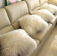 White Color Mongolian Lamb Fur Lumbar Pillow Real Tibetan Sheep Fur Back Cushion