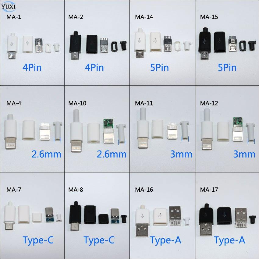 YuXi 10 шт. DIY Micro USB сварочный Тип Папа 4 5 Pin разъем с пластиковой крышкой тип A Тип C для iPhone штекер 8Pin| |   | АлиЭкспресс