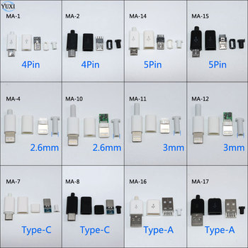 цены YuXi 10pcs DIY Micro USB Welding Type Male 4 5 Pin Plug Connector w/Plastic Cover Type A Type C for iPhone male Plug 8Pin