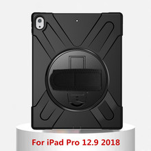 Kids Safe Heavy Duty Silicone TPU+PC shell Shockproof Stand Cover Case For iPad Pro 12.9 2018 Durable 360 Rotating Tablet Case shockproof heavy duty case for ipad pro 7 9 12 9 protect skin rubber hybrid stand case for ipadpro durable 2 in 1 case alabasta