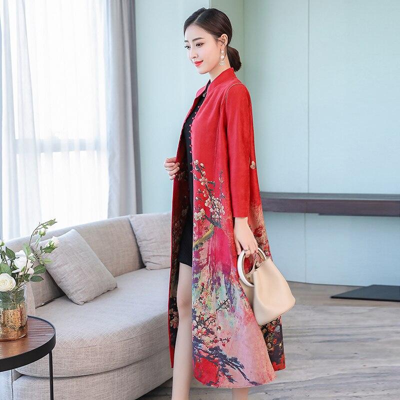Chinois Imprimé Jaune La Mode Manteau red Plus Vintage Cardigan Black 2018 De Coupe Taille Tranchée Élégant Floral Vêtements yellow vent Femmes Longue Hiver PdZqn0q