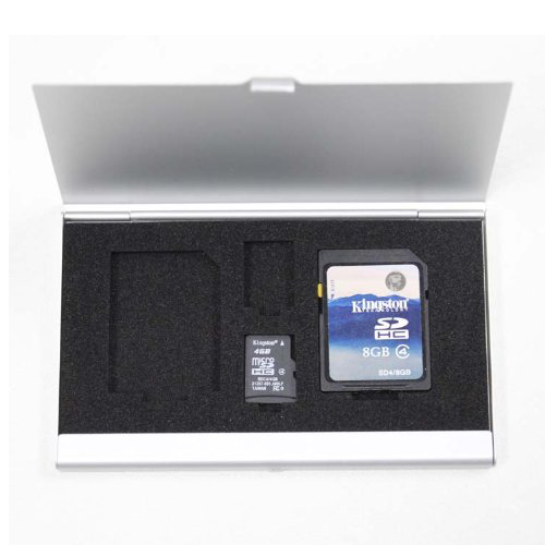 Aluminum Memory Card Case (Single Side) For 2*SD Card + 2*TF Card (Silver Color)