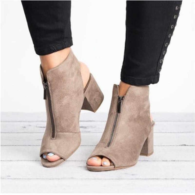 รองเท้าข้อเท้าใหม่ Faux Suede หนังเปิด Peep Toe รองเท้าส้นสูงซิปแฟชั่นสแควร์ผู้หญิง Worker รองเท้า