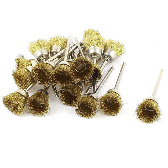 Fixmee 50pcs 3mm Shank  15mm Brass Wire Rotary Cups Brush For Grinder Rotary Tool Dremel Accessories 1/8