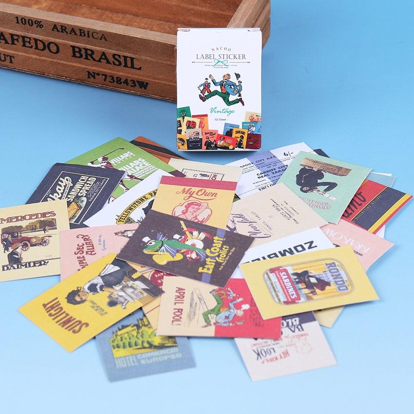 48 PCS/box Creative Retro Sticker DIY Kawaii Matchbox Stickers Seal Album Diary Scrapbooking Decoration Stationery Supplies
