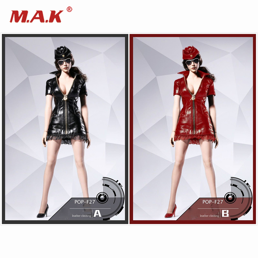 1:6 Scale F27 Sexy Leather Short Dress Suit Clothing Set Balck/Red Color for 12 inches PH Action Figure Body 1 6 scale male clothes suit leather jacket men s jacket suit model for 12 action figure body accessories