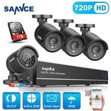 SANNCE 8CH 720P CCTV DVR kit 1080P HDMI CCTV System 4pcs 1200TVL IR Cut Outdoor CCTV Camera Video Survelliance kit 1TB HDD