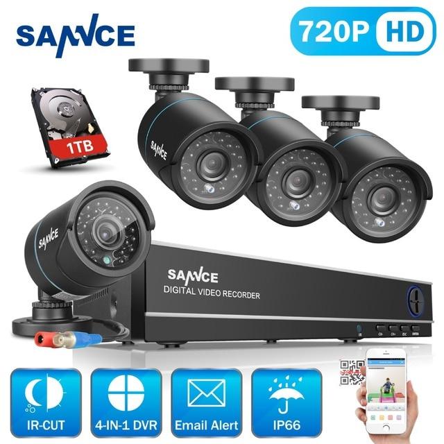 Sannce 8ch 720 p cctv kit dvr 1080 p hdmi cctv sistema 4 pcs 1200TVL IR Cut CCTV Ao Ar Livre Câmera de Vídeo Survelliance kit 1 TB HDD
