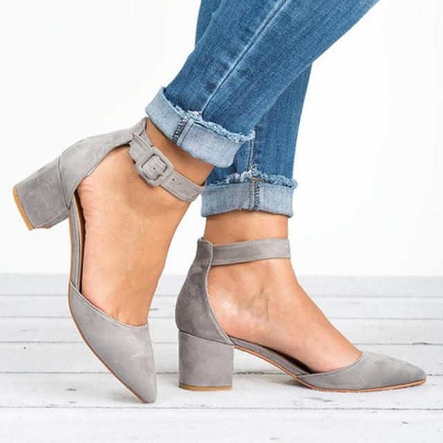 Women Ankle Strap Low Heels Sandals 2