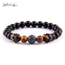 WML Luxury Pave Black zircon ball & crown charm 8mm black bead men Bracelets Bangles for women jewelry