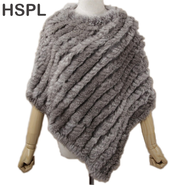 HSPL Fur Poncho 2017 Autumn Real Rabbit Hot Sale Triangle Knitted Women Pullover Lady Pashmina Wrap poncho pele de coelho