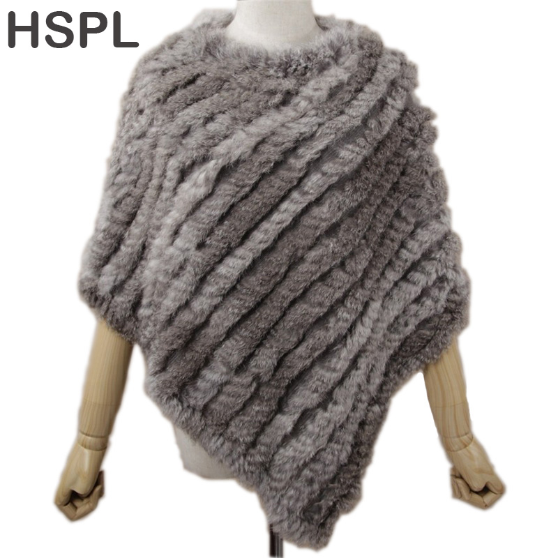 HSPL Fur Poncho 2019 Høst Real Rabbit Hot Sale Triangel Strikkede Damer Genser Lady Pashmina Wrap poncho pele de coelho