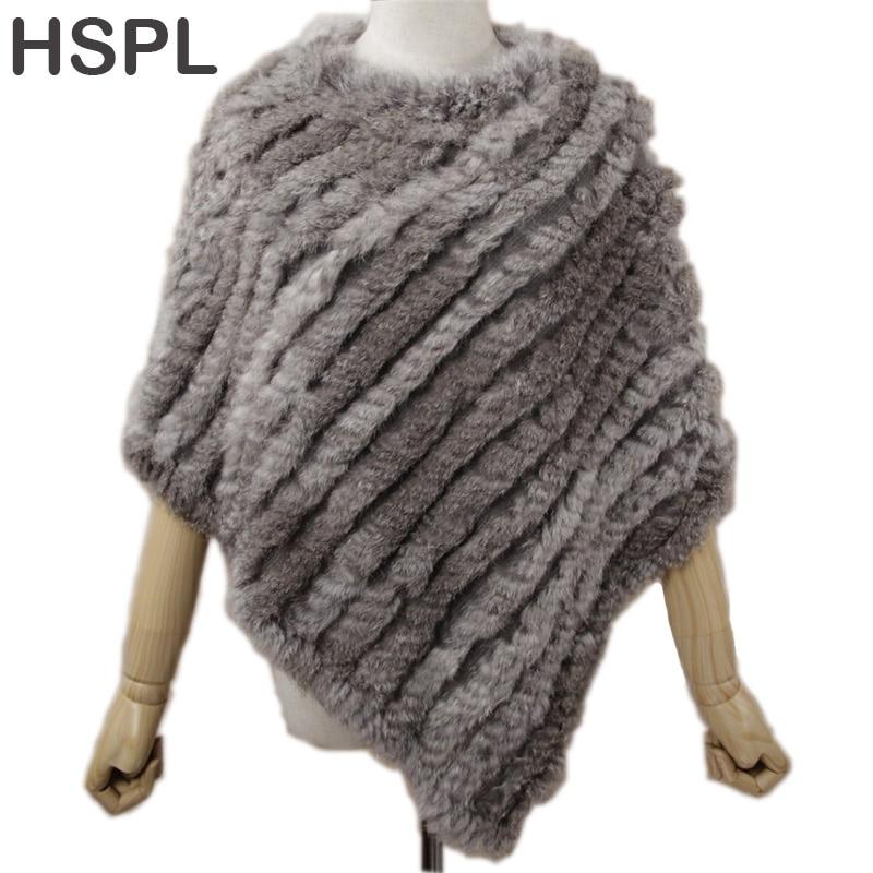 HSPL Fur Poncho 2019 Autumn Real Rabbit Hot Sale Triangle Knitted Women Pullover Lady Pashmina Wrap Poncho Pele De Coelho