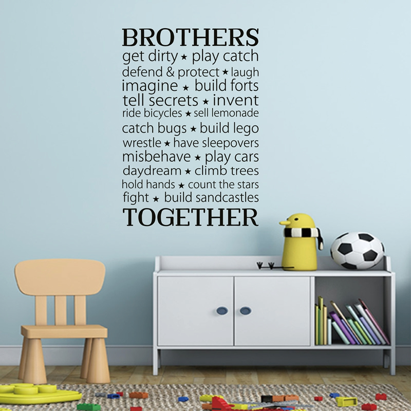Brothers together wall stickers vinyl lettering wall decal brothers friendship decal for boys room decor in wall stickers from home garden on