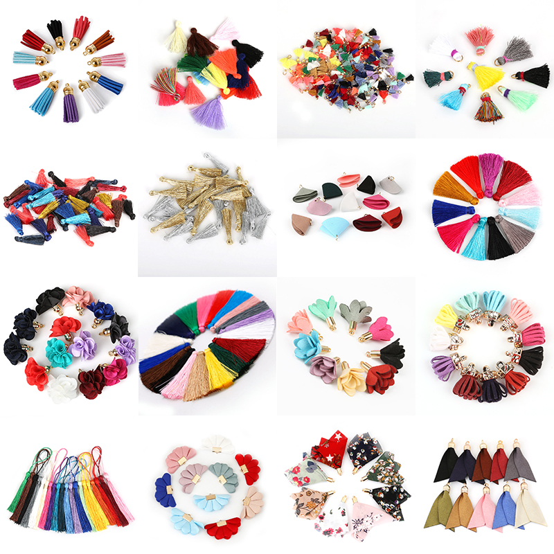10~50pcs Mixed Cotton Silk Polyester Flower Tassel Charm Pendant Hand Made For Drop Earring Jewelry Findings DIY Craft Making