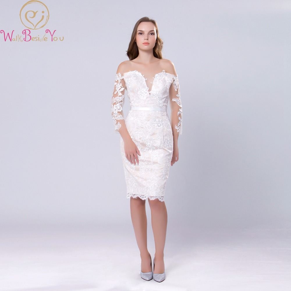Champagne   Cocktail     Dresses   2018 Three Quarter 3/4 Sleeves Off Shoulder Lace Straight Knee Length Button Back Formal Party Gowns