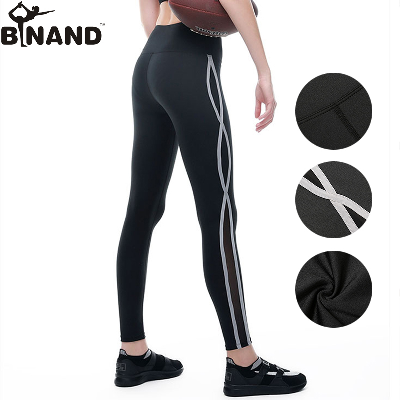 BINAND Women Net Yarn Stitching Tights Quick Dry Yoga Pants Gym Fitness Running Breathable Absorb Sweat Sports Length Trousers