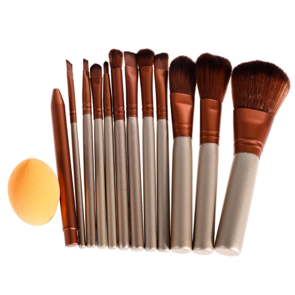 12Pcs Soft Synthetic Hair Brush Makeup Brushes Set Eyeliner Eyebrow Blush Concealer Foundation Brush Powder Puff Maquiagem learnever makeup set eye shadow eyeliner liquid eyebrow pencil mascara powder cake foundation lipstick blush concealer maquiagem