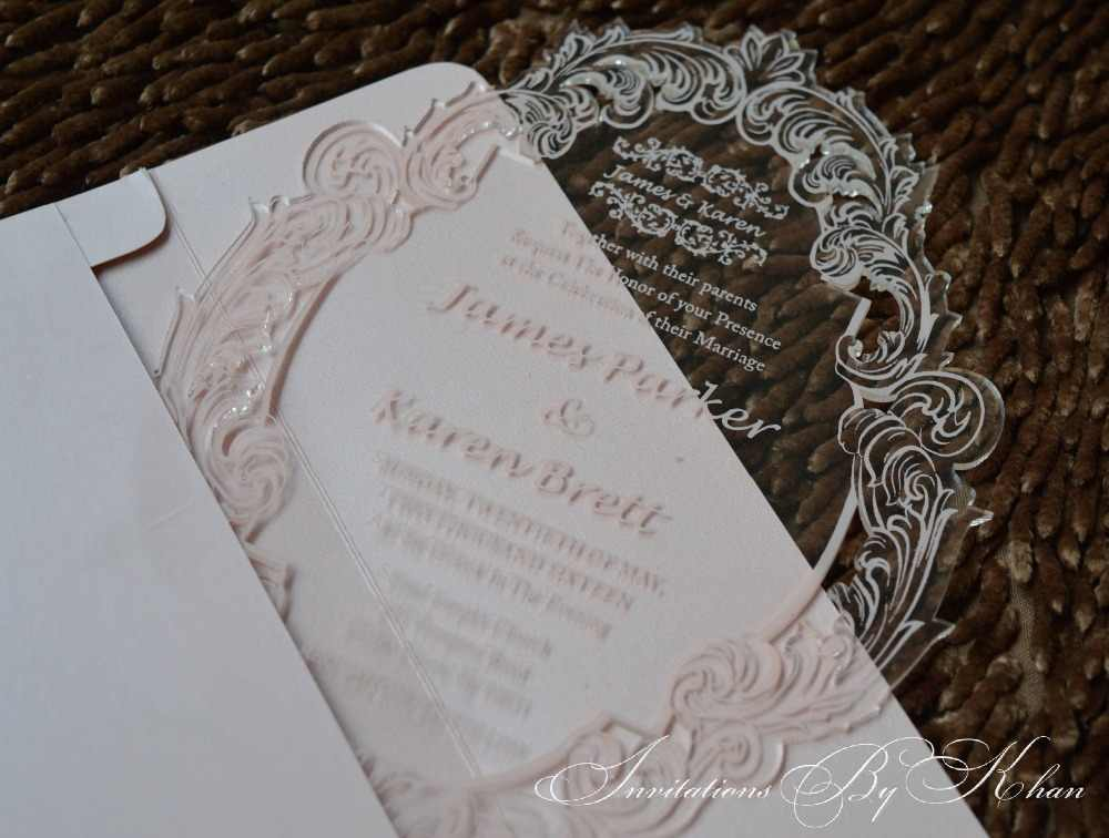 Gold Printing Invitations Wedding Transparent Perspex Sign Invitation Lucite Acrylic Invite